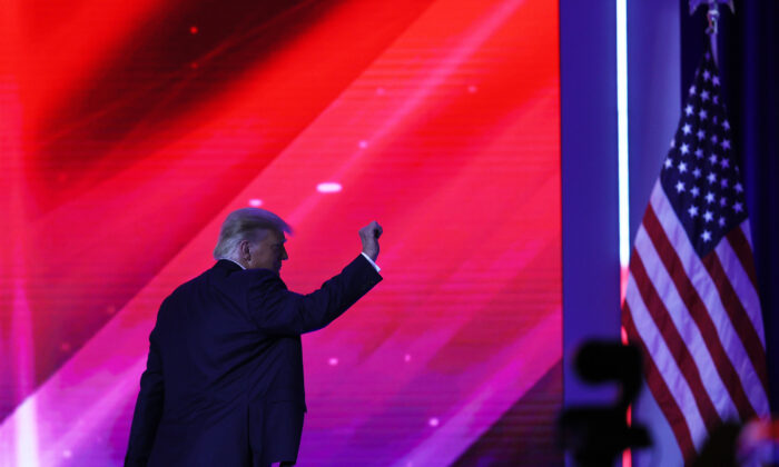 President Donald Trump walks off stage after an address to the Conservative Political Action Conference (CPAC) held in the Hyatt Regency in Orlando, Fla., on Feb. 28, 2021. (Joe Raedle/Getty Images)