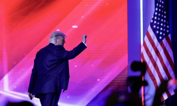 President Donald Trump walks off stage after an address to the Conservative Political Action Conference (CPAC) held in the Hyatt Regency in Orlando, Florida, on Feb. 28, 2021. (Joe Raedle/Getty Images)
