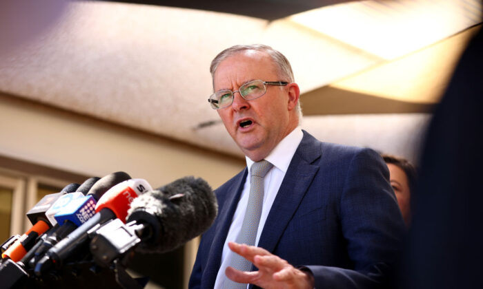 Anthony Albanese addresses the media on March 04, 2021 in Kwinana, Australia. (Paul Kane/Getty Images)