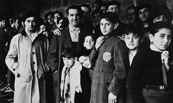 This picture taken in 1942 shows Jewish deportees in the Drancy transit camp, their last stop before the German concentration camps. (-/AFP via Getty Images)
