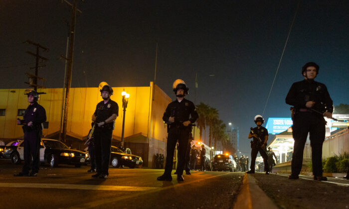 Police officers are seen in Los Angeles, Calif., in a file photo. (John Fredricks/The Epoch Times)
