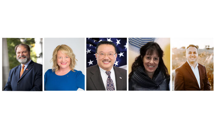 Board of Supervisors candidates for Orange County, Calif. (left to right): John Moorlach, Katrina Foley, Michael Vo, Janet Rappaport, and Kevin Muldoon. (Collage by John Fredricks/The Epoch Times)