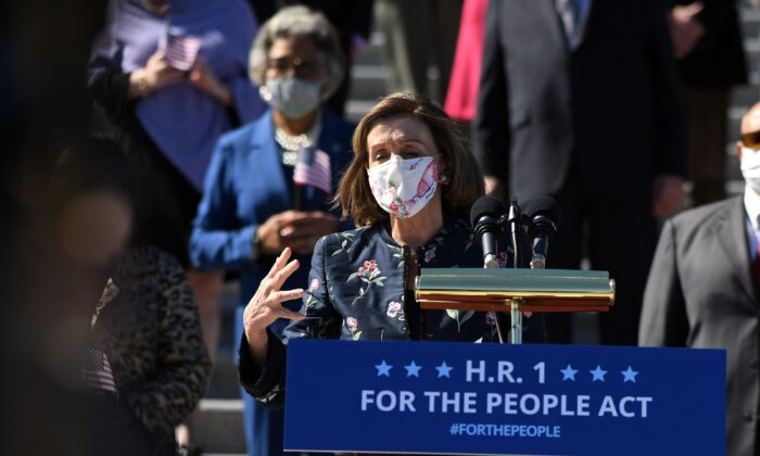 "Speaker of the House Nancy Pelosi (D-Calif.) speaks at an event on the steps of the U.S. Capitol for the ""For The People Act of 2021"" in Washington on March 3, 2021. (Eric Baradat/AFP via Getty Images)"