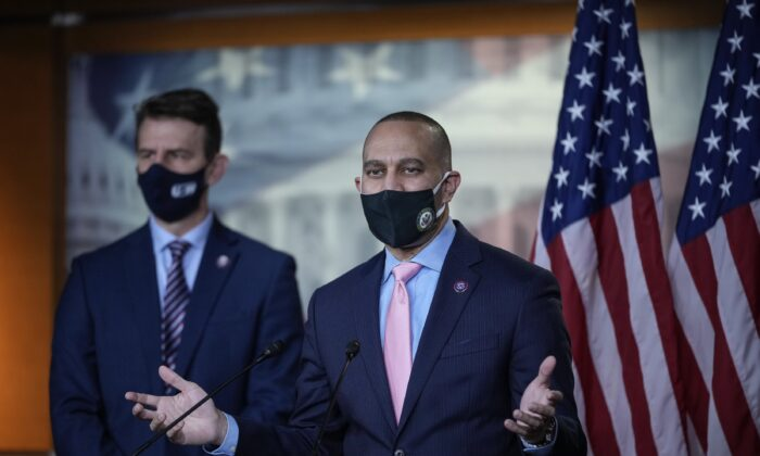 House Democratic Caucus Chairman Hakeem Jeffries (D-N.Y.) speaks to reporters in Washington on March 9, 2021. (Drew Angerer/Getty Images)