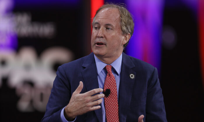 Ken Paxton, Texas attorney general, speaks during a panel discussion during the Conservative Political Action Conference in Orlando, Fla., on Feb. 27, 2021. (Joe Raedle/Getty Images)