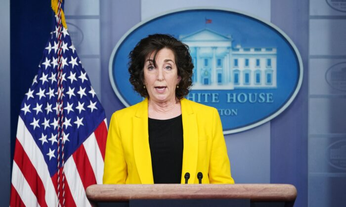 Special Assistant to the President and Coordinator for the Southern Border, Ambassador Roberta Jacobson, speaks during a press briefing in the Brady Briefing Room of the White House on March 10, 2021. (Mandel Ngan/AFP via Getty Images)