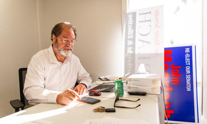 John Moorlach sits at his office in Newport Beach, California, on March 9, 2021. (John Fredricks/The Epoch Times)