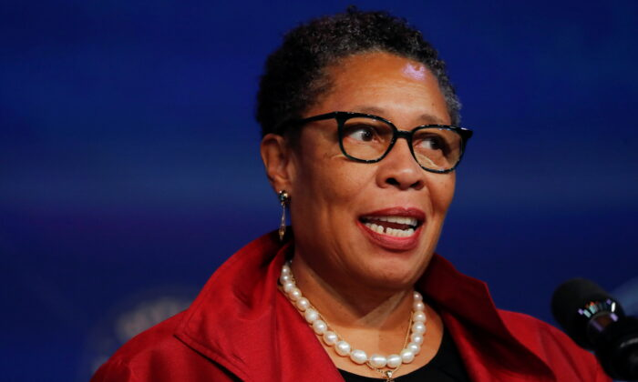 Rep. Marcia Fudge, President-elect Joe Biden's nominee to head the Department of Housing and Urban Development, speaks after Biden announced her nomination among another round of nominees and appointees during a news conference at his transition headquarters in Wilmington, Del., on Dec. 11, 2020. (Mike Segar/Reuters)