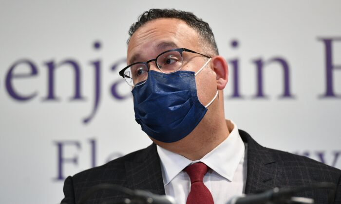 Education Secretary Miguel Cardona speaks during a tour at Benjamin Franklin Elementary School in Meriden, Conn., on March 3, 2021. (Mandel Ngan/POOL/AFP via Getty Images)