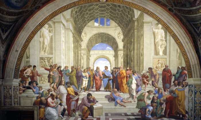 """The School of Athens"" (1509–1510) by Raphael, a fresco depicting an idealized academy. (Public Domain)"