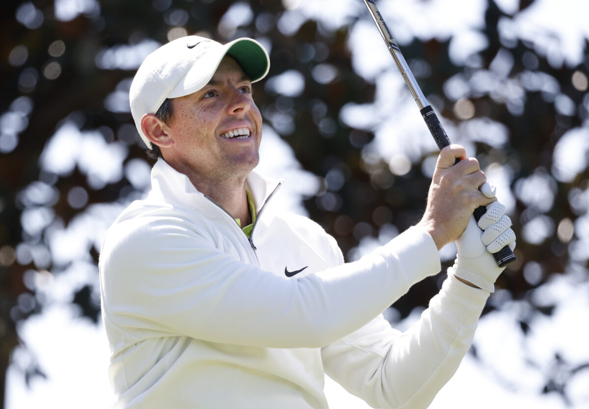 Rory McIlroy hits his tee shot