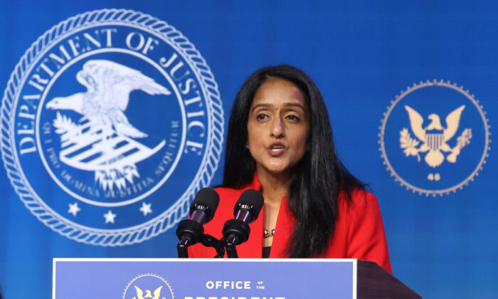 Vanita Gupta delivers remarks after being nominated to be U.S. associate attorney general by President-elect Joe Biden at The Queen theater in Wilmington, Delaware, on Jan. 7, 2021. (Chip Somodevilla/Getty Images)