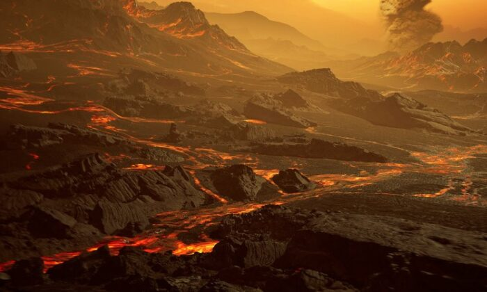 Artist's impression of the surface of the newly discovered hot super-Earth Gliese 486b. (RenderArea)