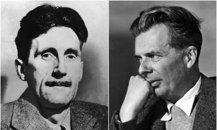 "In ""Amusing Ourselves to Death, author Neil Postman asserted that people were more oppressed by their addiction to amusement, as reflected in ""Brave New World"" by Aldous Huxley (R), rather than by the state, as portrayed in ""1984"" by George Orwell (L). (Hulton Archive/Getty Images)"