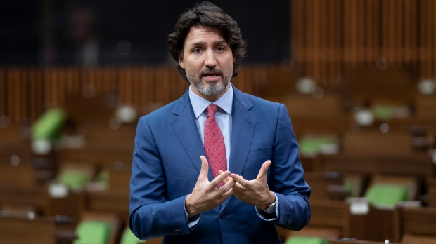 Prime Minister Justin Trudeau responds to a question during Question Period in the House of Commons on March 10, 2021 in Ottawa. (Adrian Wyld/ The Canadian Press)
