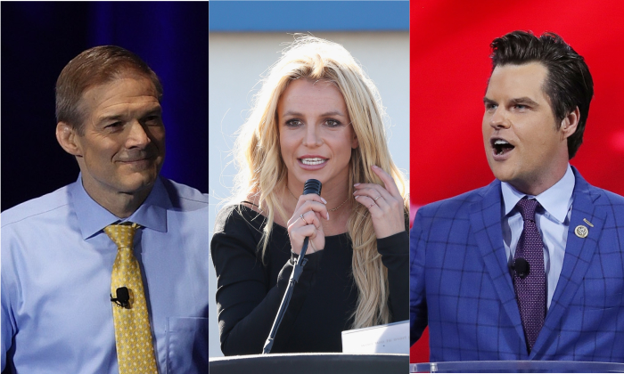A collage images showing Rep. Jim Jordan (R-Ohio), Britney Spears, and Rep. Matt Gaetz (R-Fla.) (Joe Raedle and Gabe Ginsberg/Getty Images)