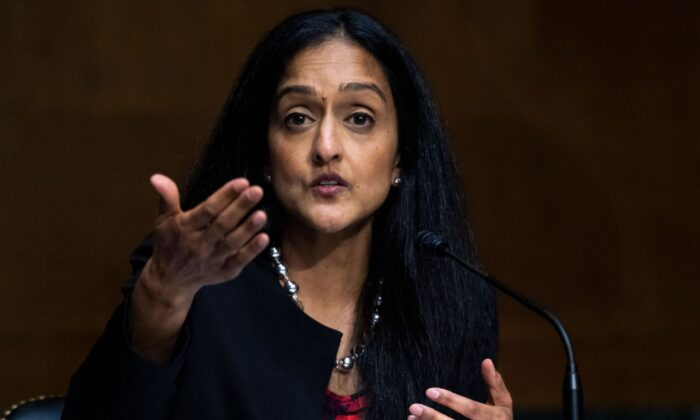 """Vanita Gupta testifies during the Senate Judiciary Committee hearing titled """"Police Use of Force and Community Relations,"""" in Dirksen Senate Office Building in Washington on June 16, 2020. (Tom Williams/POOL/AFP via Getty Images)"""