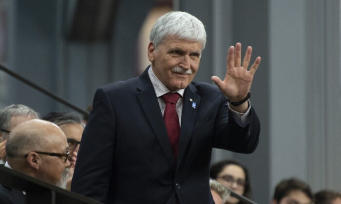 Lt. Gen. Romeo Dallaire rises as he is recognized by the speaker of the House of Commons following Question Period in the House of Commons in Ottawa, Canada, on April 8, 2019. (Adrian Wyld/The Canadian Press)