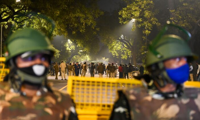 Police cordon off an area after an explosion near the Israeli embassy in New Delhi on Jan. 29, 2021. (Sajjad Hussain/AFP via Getty Images)