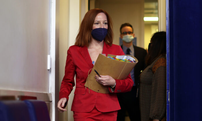 White House Press Secretary Jen Psaki arrives at a daily press briefing at the James Brady Press Briefing Room of the White House in Washington on March 11, 2021. (Alex Wong/Getty Images)