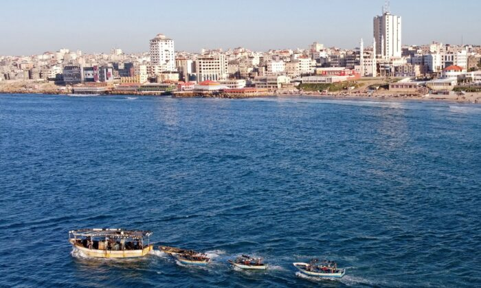 Palestinian fishing boats near Gaza's seaport in Gaza City on Feb. 1, 2021. (Mohammed Salem/Reuters)