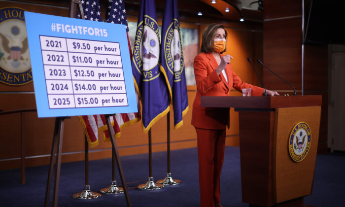 Speaker of the House Nancy Pelosi (D-Calif.) holds her weekly news conference one day after Congress passed a $1.9 trillion COVID-related stimulus package at the U.S. Capitol in Washington, on March 11, 2021. (Chip Somodevilla/Getty Images)