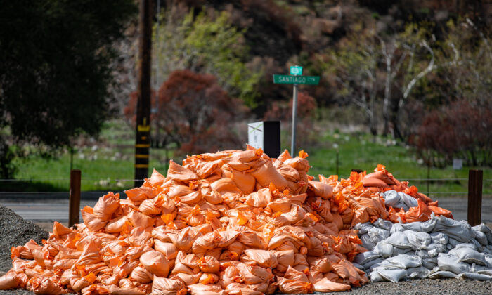 Mandatory evacuations were issued by Orange County officials for the Modjeska Canyon area of Santiago Canyon, Calif., on March 10, 2021. (John Fredricks/The Epoch Times)