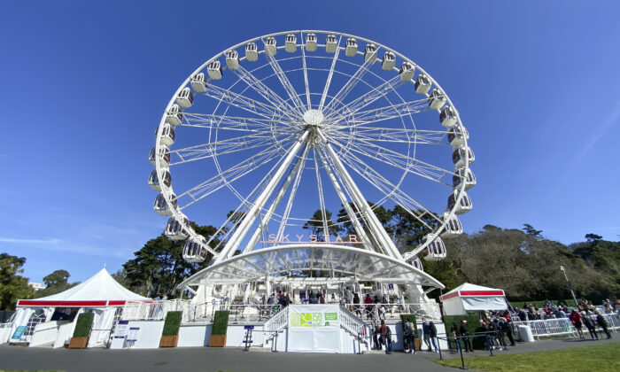 The SkyStar Wheel on a sunny day in Golden Gate Park in San Francisco on March 6, 2021. (Ilene Eng/The Epoch Times)