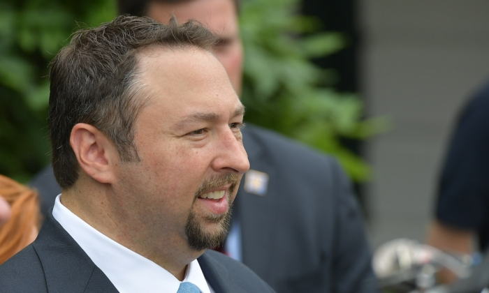 File photo: Jason Miller waits for the departure of President Donald Trump on Marine One from the South Lawn of the White House on June 17, 2017. (Mandel Ngan/AFP via Getty Images)