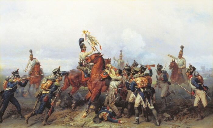 """""""Feat of Cavalry Regiment at the Battle of Austerlitz"""" by Bogdan Pavlovich Willewalde, circa 1884. Advanced skills and techniques in agriculture, manufacturing, transportation, and communication have not in themselves guaranteed human happiness or well-being. As Russell points out, the same men who tamed the horse to pull a plow also employed the animal to make war and enslave peaceable populations. (Public Domain)"""