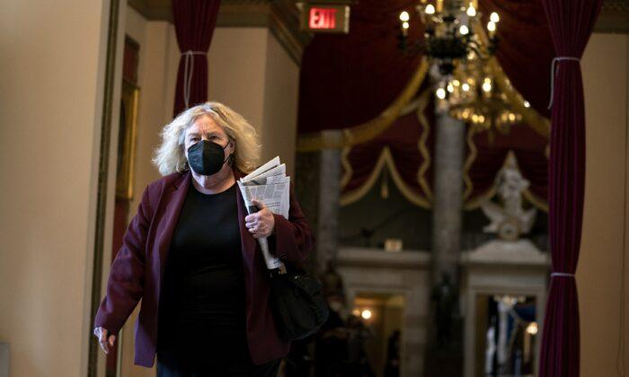 Rep. Zoe Lofgren (D-Calif.) walks on Capitol Hill in Washington on Jan. 13, 2021. (Stefani Reynolds/Getty Images)