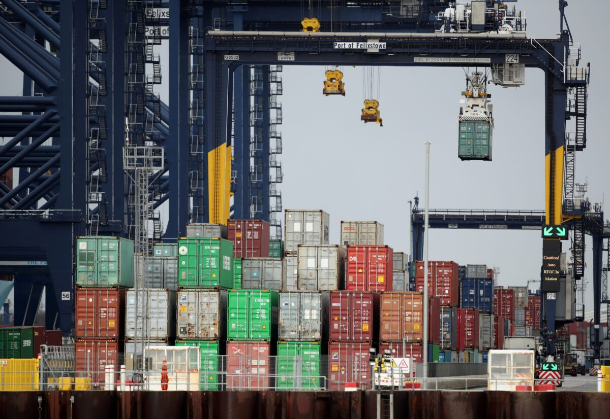 Containers are stacked at the Port of Felixstowe