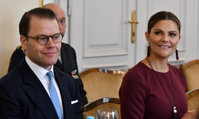 Crown Princess Victoria of Sweden, Duchess of Vastergotland (R) and her husband Prince Daniel, Duke of Vastergotland, meet with Members of Bosnia and Herzegovina's tripartite presidency in Sarajevo, on Nov. 5, 2019. (Elvis Barukcic/AFP via Getty Images)