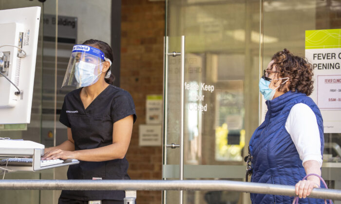 A nurse is seen working at a COVID-19 testing clinic at Ipswich Hospital in Brisbane, Australia. on Aug. 24, 2020. (Glenn Hunt/Getty Images)