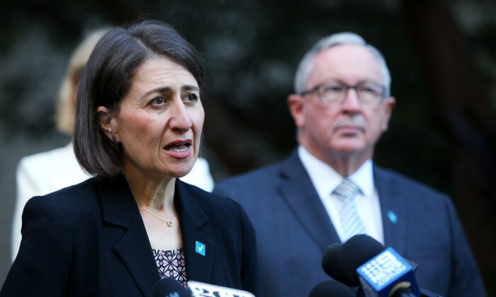 Premier Gladys Berejiklian speaks with the media on February 22, 2021, in Sydney, Australia.  (Lisa Maree Williams/Getty Images)