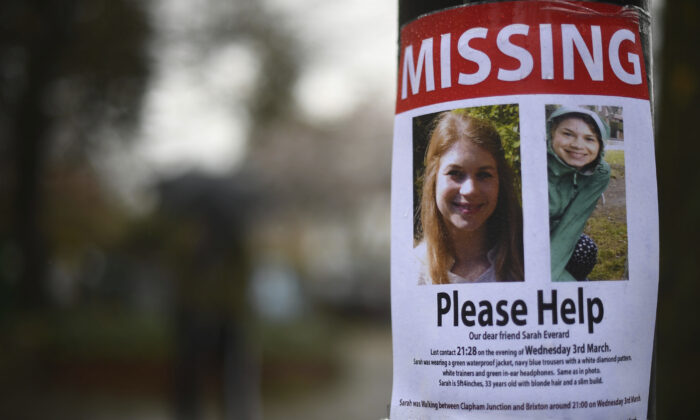 A missing sign outside Poynders Court on the A205 in Clapham, London, on March 10, 2021, during the search for Sarah Everard. (Victoria Jones/PA via AP)