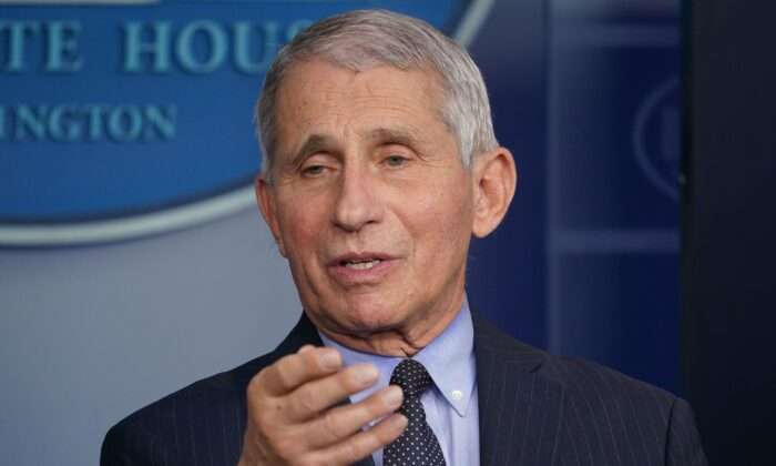 Director of the National Institute of Allergy and Infectious Diseases Anthony Fauci speaks during the daily briefing in the Brady Briefing Room of the White House on Jan. 21, 2021. (Mandel Ngan/AFP via Getty Images)