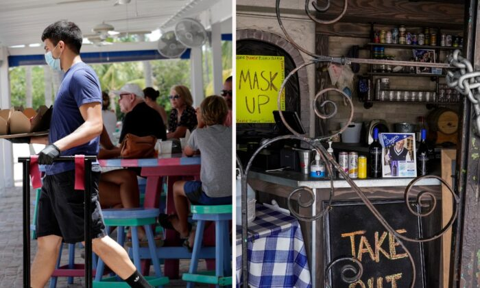 (L) Charles Perez wears a protective face mask and gloves as he waits on tables at the Morada Bay Beach Cafe in Islamorada, in the Florida Keys on June 1, 2020. (Lynne Sladky/AP).  (R) The doors of the Baby Blues BBQ restaurant are seen locked in Los Angeles, Calif., on Jan. 25, 2021. (Damian Dovarganes/AP, File).