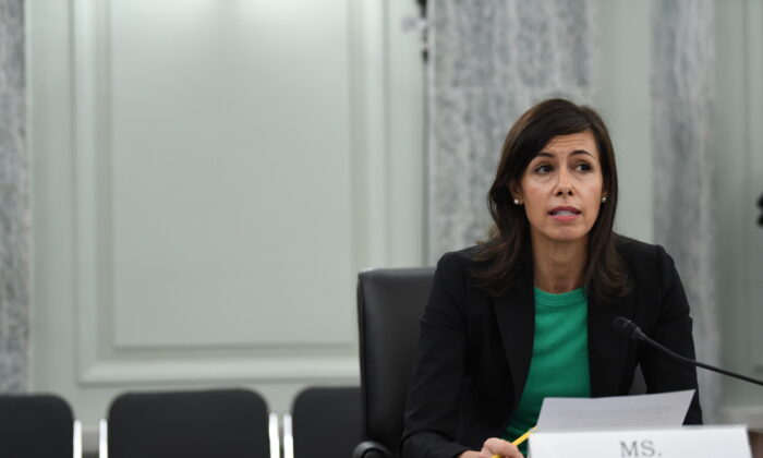 Federal Communication Commission Commissioner Jessica Rosenworcel testifies during an oversight hearing to examine the Federal Communications Commission on Capitol Hill in Washington, on June 24, 2020. (Jonathan Newton-Pool/Getty Images)