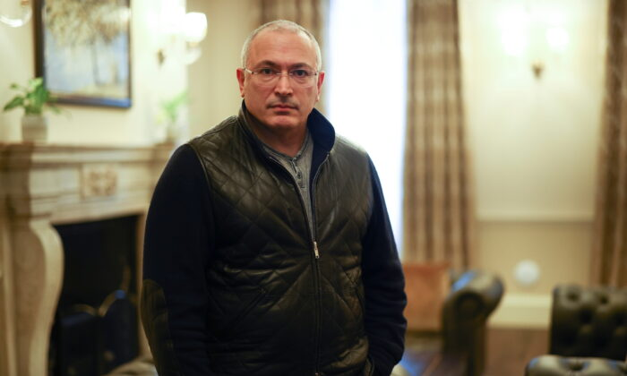 Former Russian tycoon Mikhail Khodorkovsky poses for a picture after an interview with Reuters in central London, Britain, Jan. 18, 2021. (Henry Nicholls/Reuters)