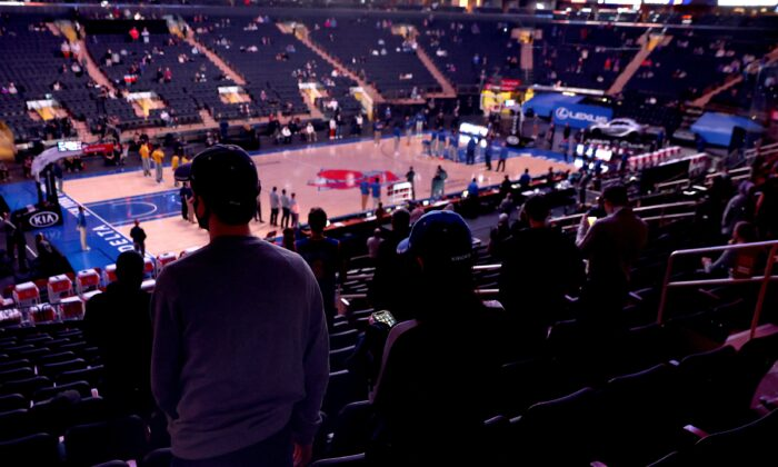 Fans are seen in the stands before a game at Madison Square Garden in New York City on Feb. 27, 2021. (Elsa/Getty Images)