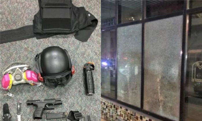On left, some of the weapons seized from rioters in Portland, Ore., on March 12, 2021. On right, windows smashed by rioters in Portland, Ore., on March 12, 2021. (PPB)