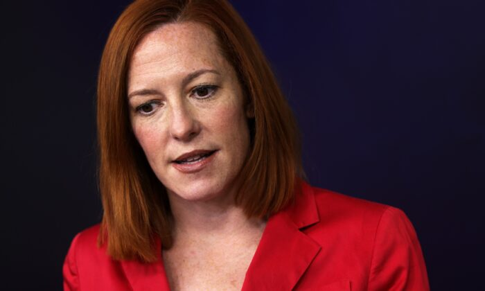 White House Press Secretary Jen Psaki speaks during a press conference at the White House in Washington on March 11, 2021. (Alex Wong/Getty Images)