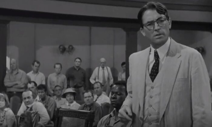 "Lawyer Atticus Finch (Gregory Peck) handles the most challenging case of his career, in ""To Kill a Mockingbird."" (Universal Pictures)"