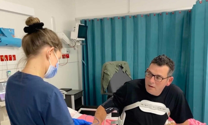 Victorian Premier Daniel Andrews after he was moved out of intensive care at the Alfred Hospital in Melbourne on March 13, 2021. (AAP Image/Twitter, @DanielAndrewsMP)