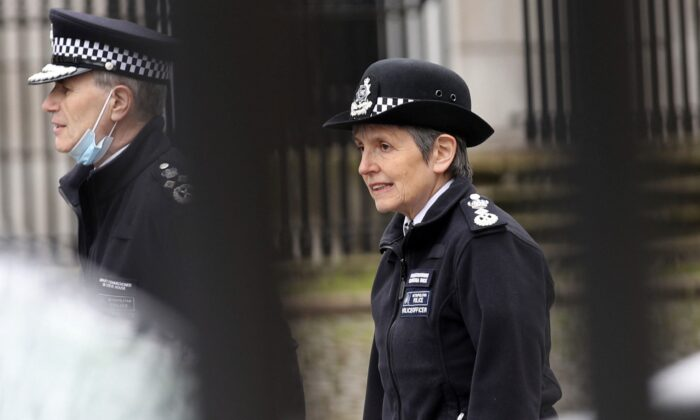 Metropolitan Police Commissioner Cressida Dick arrives at New Scotland Yard in London, on March 14, 2021. (Yui Mok/PA via AP)