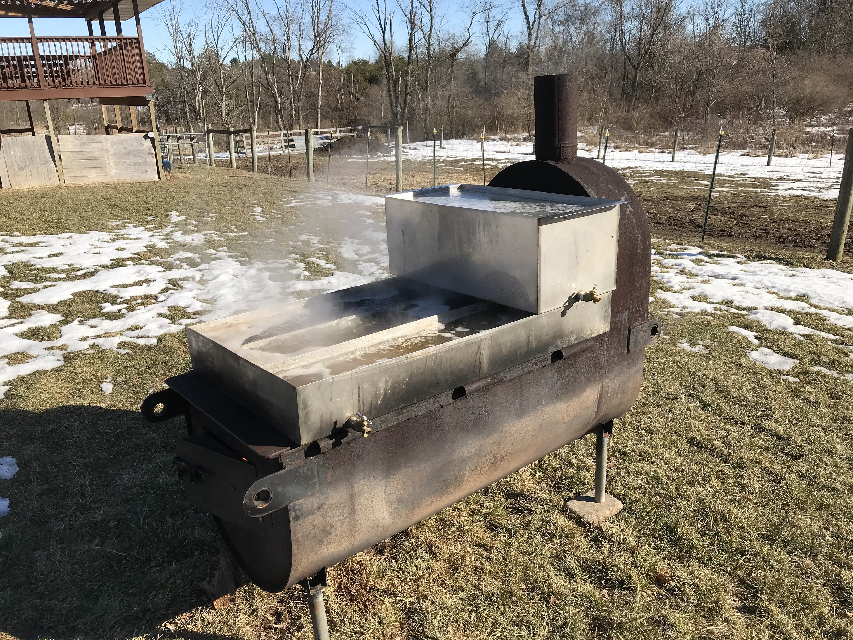 maple syrup evaporator backyard