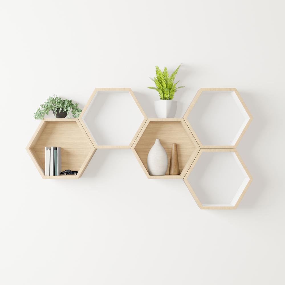 Wooden,Hexagon,Shelf,Little,Tree,,Books,,decoration,Copy,Space,,Mock
