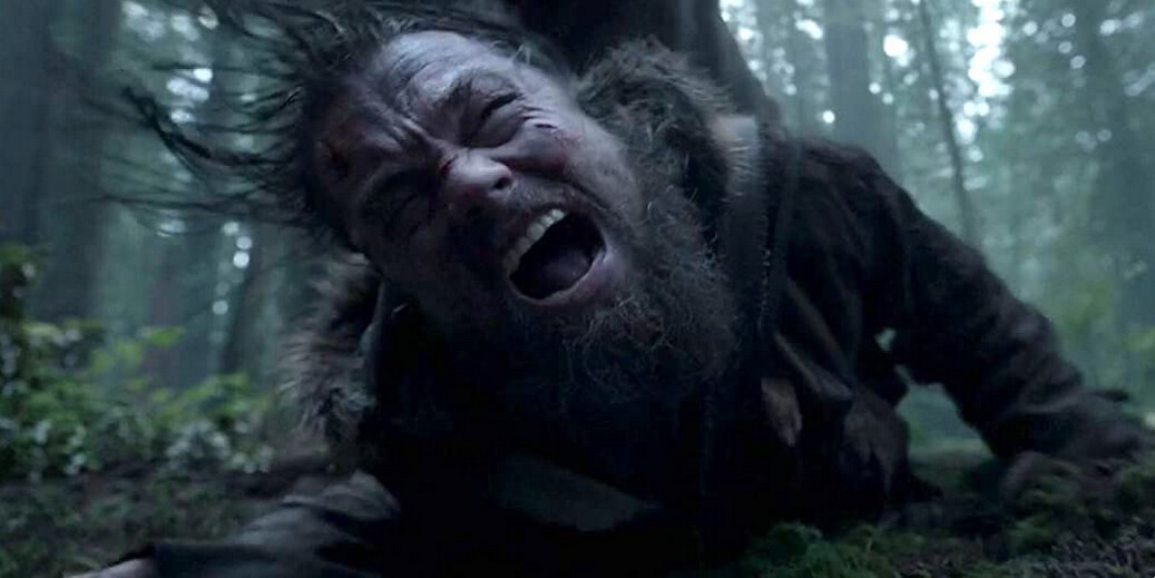 "man getting mauled by bear in ""The Revenant"""