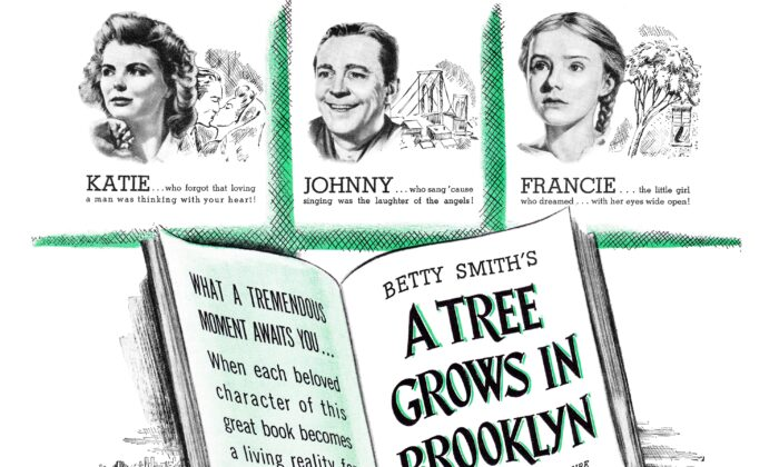 """An ad in Life Magazine for the film """"A Tree Grows in Brooklyn,"""" a work which shows the strength of women but also their need for a womanly heart. (Public Domain)"""